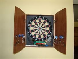 Wall mounted dart board with wood cover