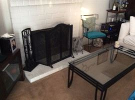 Nautical design items - Fireplace screen black wrought iron coffee table, etc A fossil, a crate and barrel Entertainment Center