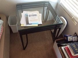 wrought iron side table - loads of books