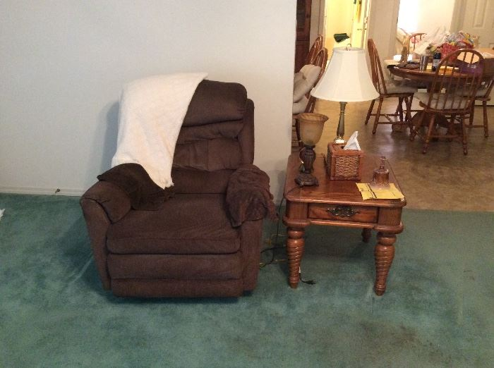 Rocker recliner and end table