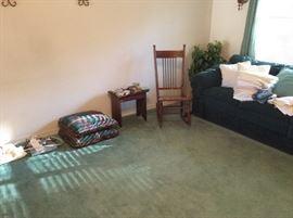 Sofa, rocker, small stool & miscellaneous