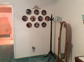 Norman Rockwell collector plates, coat rack & stand mirror