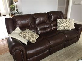 LEATHER SOFA w/ 2 RECLINING ENDS