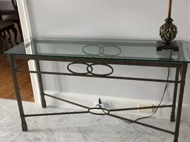 IRON AND GLASS ENTRY TABLE