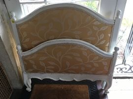 Small French Twin Bed with upholstered headboard & footboard and matching scalloped rails