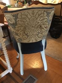 Pair of French Chairs with blue velvet seats and backs, and decorative floral fabric on outside back