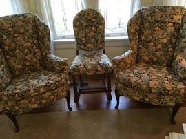 Pair of matching Wingback Chairs with Side Chair covered in matching fabric