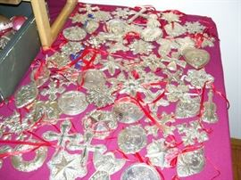 LOTS of sterling silver Christmas ornaments...Towle, Reed and Barton, Wallace, etc.