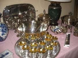 Silver punch bowl and cups