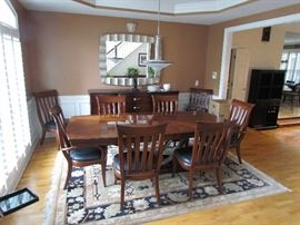 beautiful eight-seating dining room table with two leafs, and table crank Bernhardt Dining and  BUFFET