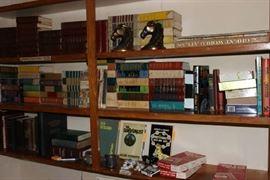 Art Deco horse bookends, books.