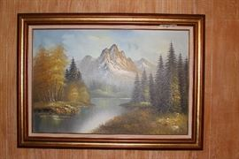 Mountain lake large oil painting