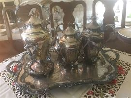 glorious 7 piece silver coffee and tea service