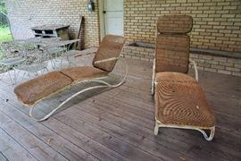 Vintage metal chaise set