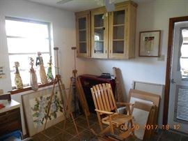 Cypress Cabinets, Bali Puppets, Several Artist Easels