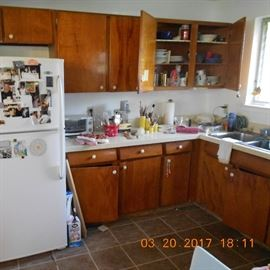 Kitchen, Refrigerator, Toaster, Dishes, Microwave