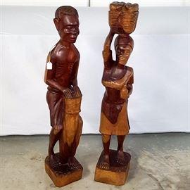 Artz Wood carvings Man Woman Large
