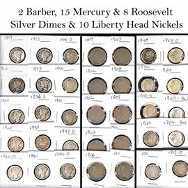 Cur Coins Silver Dimes Mercury Barber Roosevelt V Nickels