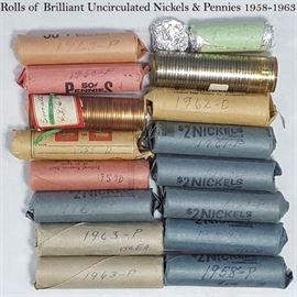 Cur Coins Rolls BU Nickels Pennies