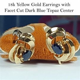 Jewelry Gold And Dark Blue Topaz Earrings