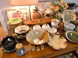 Handmade & signed pottery pieces and other collectibles