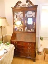 Mahogany secretary with fretwork, glass top and 4 drawers--beautiful