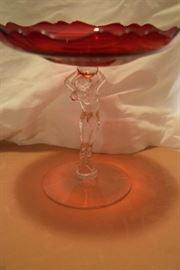 Cambridge Glass Compote in Carmen