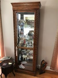 Walnut Lighted Curio Cabinet w/ Glass Shelves & Mirrored Back