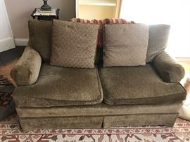 Hendredon Sage Green Upholstered Loveseat