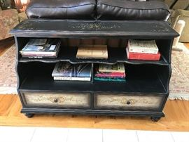 Country Maple Black Painted Two-Drawer Entry/Sofa Display Table