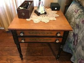 Country Maple Top Black Painted Two-Drawer End Table