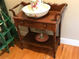 Antique Walnut One-Drawer Dry Sink Wash Stand