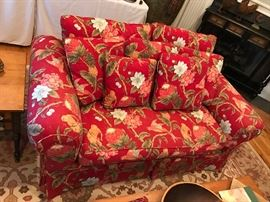 Red Floral Upholstered Sofa w/ Pillows
