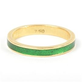 18K Yellow Gold Green Enamel Ring: An 18K yellow gold ring with green enamel.