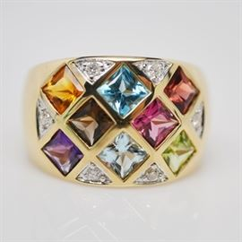 14K Yellow Gold Multi-Gemstone and Diamond Ring: A 14K yellow gold multi-gemstone and diamond ring. This multi-colored ring features a grid design of flush set square-cut stones, with round diamonds in bead and bright-cut settings.