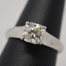 """Tiffany & Co. Platinum 1.19 Cts """"Lucida"""" Diamond Ring With Tiffany and GIA Certificate: A platinum Tiffany and Company 1.19 Cts """"Lucida"""" diamond ring. Diamond features a square mixed cut with trellis style mount. Ring includes a GIA certificate and Tiffany & Co diamond certificate #16778192/C05030215."""