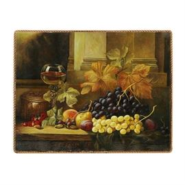 Original Oil Painting on Canvas Autumnal Still Life: An original oil painting on canvas autumnal still life. This painting depicts a bundle of purple and green grapes, autumnal leaves and produced such as pears and plums. This piece is not signed and is presented as an unframed canvas with a rope edge.
