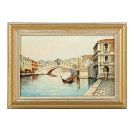 Oil Painting on Board Venetian Scene: An oil painting on board Venetian scene, signed by Zayo. This piece depicts a street scene in Venice, Italy with a gondola propelled by a gondolier rowing throw the Grand canal among aligned residential buildings with the Rialto Bridge present in the background. Signed by the artist to the lower right corner. Presented without glass, in a golden tone wood frame with carved embellishments in a white finish.