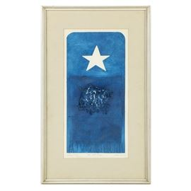 """Beth Urdang Working Proof Collagraph on Paper """"Red White Saga"""": A working proof collagraph titled Red White Saga by Beth Urdang. This print depicts a white star toward the top of the composition below there is a textured fabric with frayed edges. In the center of the composition is a cluster of thin fabric. All are rendered in a vibrant hue of blue. This piece is signed to the lower right in graphite, title to the center margin, and numbered to the lower left. Housed behind glass in a texture mat and white wooden frame."""