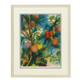"""Paul Collomb Artist Proof Lithograph on Paper """"Le Pommier"""": A signed artist proof lithograph on paper titled Le pommier by listed French artist Paul Collomb (1921 – 2010). Within vibrant tonalities, this piece depicts an apple tree with multiple fruits and leaves in the foreground with figures and a distant townscape and church to the lower right corner. This work is signed by the artist in graphite and presents the handwritten inscription """"Epreuve d' artiste"""" standing for artist's proof in french to the lower margin. Presented behind glass, beneath an off- white and blue double mat, housed in a wood frame with a white finish."""