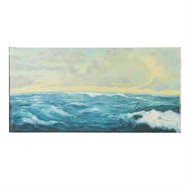 Signed Oil Painting on Canvas of Seascape: A signed oil painting on stretched canvas of a seascape, created in 1970. This work features flipping waves on a sea portrayed with blues and greens, underneath a cloudy yellow, blue, and purple sky. The painting is illegibly signed and dated to the lower right.
