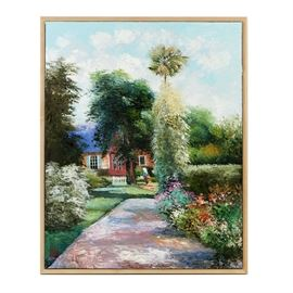 Hung Pham Oil Painting on Canvas of Impressionist Garden Landscape: An oil painting on canvas of an impressionist garden landscape by Vietnamese American artist Hung Pham. Portrayed with dabs of vibrant colors, loose painterly brushstrokes, and thick layered impasto, this work features a paved path lined with colorful flower beds, bushes, and trees. A house with a white fence is partially visible in the background, and an anonymous woman carries a water can. The painting is signed to the lower left and the artist's stamp in red is also present to the lower left. A short bio with the artist's stamp and picture is present to the verso. The painting is displayed in a simple wood frame.