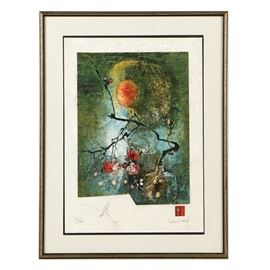 """Lebadang Hoi Limited Edition Lithograph on Paper Still Life: A limited edition lithograph on paper still life by Lebadang Hoi (Vietnamese, 1922-2015). This print depicts a branch of a cherry blossom tree in a vase with an orange celestial orb above. The print was created by printing an image a stock paper then reprinting the image on a transparent lace paper placed over top. This overlapping causing a three-dimensional effect on the paper. The piece is numbered 32 out of an edition of 200. A small hand-drawn remarque of a bird is present to the left. To the verso, is a drawing of a nude woman on her stomach and a dedication that reads """"To Teri"""". The piece is signed by hand and with a small red seal to the lower right. Housed behind acrylic glass float mounted to a white linen mat within a black and gold composite frame."""