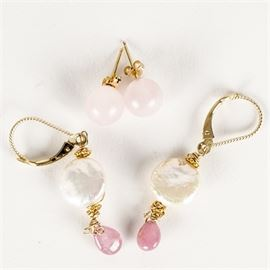 Two Pairs of 14K Gold and Stone Earrings: A set of two pairs of yellow gold earrings with stones.
