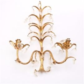 Decorative Floral Wall Sconce: A decorative floral wall sconce. This gold tone piece depicts a series of scrolling branches with faux crystal ornamentation. There are no visible marks or labels on this item.