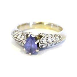 14K White Gold, Tanzanite and Diamond Ring: A 14K white gold, tanzanite and diamond ring.