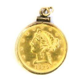 1895 Liberty Head $5 Gold Coin Pendant: A 1895 Liberty head $5 gold coin pendant.