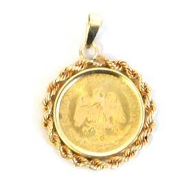 1945 Dos Pesos Gold Coin Pendant: A 1945 Dos Pesos gold coin pendant.