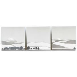 Triptych Black and White Hilly Landscape Lithographs: A giclee triptych depicting a black and white hilly landscape after the original works of art by artist Don Kirby. They are not signed.