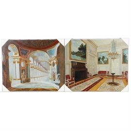 Pair of Signed Original Oil Paintings of Interiors: A pair of signed original oil paintings of interiors. These original oils on canvas include a painting of a hallway with columns which is signed to the lower left Gerald M.P and a painting of a grand room with a fireplace which is signed to the lower left Muro.
